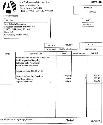 Apartments Agency: 2007 Mold Inspection Report