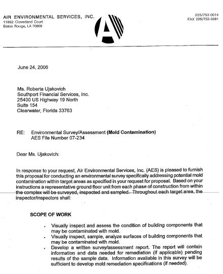 Request For Mold Inspection Letter Katy S Exposure