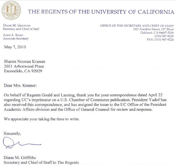 Regents Of The University Of California Acknowledge